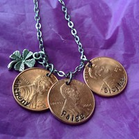 Personalized Mother's Necklace, Custom Mother's Day Jewelry. Penny Jewelry. Name and year charm. Lucky MOM penny necklace
