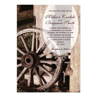 Rustic Country Wagon Wheel Wedding Invitations