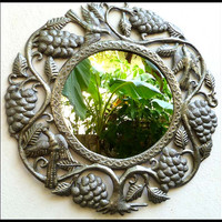 Metal Mirror Wall Hanging - Grape Design - Haitian Steel Drum Metal Art - 24""