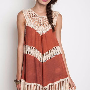 Umgee Crochet Fringe Tank Tunic Hippie Dress-Burnt Orange
