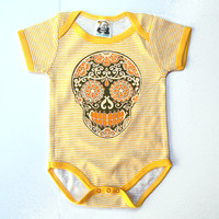 3 6 9 month Retro 70s Baby Clothes Hipster Yellow Avocado Green Striped day of the dead bodysuit sugar skull romper baby gift. Punk Baby Boy