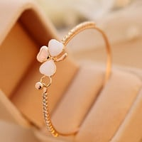 Shiny Hot Sale Stylish Great Deal Awesome Gift New Arrival Korean Butterfly Cats Bangle Leaf Bracelet [6573093831]