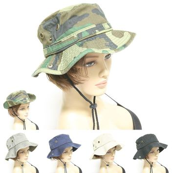 Mens Womens Boonie Military Bucket Fishing Camping Hunting Adjust Hat Wide Brim