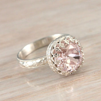 Pink ring with Swarovski Rosaline crystal, sterling silver floral band, crown setting, vintage style, handmade ring,  shiny finish