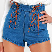 Somedays Lovin' Jerry Medium Wash Lace-Up Denim Shorts