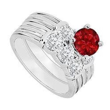 14K White Gold : Ruby and Diamond Engagement Ring with Wedding Band Set 1.10 CT TGW