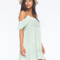 Others Follow Cold Shoulder Dress Mint  In Sizes