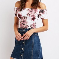 Floral Off The Shoulder Crop Top | Charlotte Russe