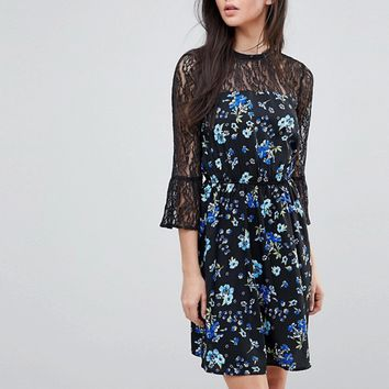 Influence Tall Lace Yoke And Sleeve Floral Skater Dress at asos.com