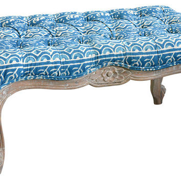 French Bohemian Upholstered Wood Bench