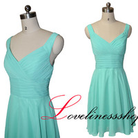 Hot sale V neck  short prom dress,mint green bridesmaid dress short,pleat knee length cheap cocktail dress,homecoming dress fashion