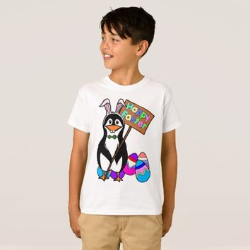 Easter Penguin with Colored Eggs T-Shirt
