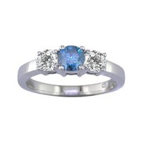 1/4 CT 3 Stone Blue & White Diamond Ring 14K White Gold (Available In Sizes 5 - 10): Jewelry: Amazon.com