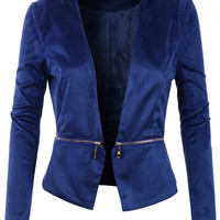 LE3NO Womens Fitted Suede Cropped Blazer Jacket with Detachable Hem (CLEARANCE)
