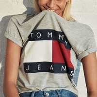 Tommy Jeans Trending Unisex Loose Print Short Sleeve T-Shirt Pullover Top Grey