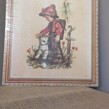 Lithio Stapco NY Boy with Cat Bird Backback Vintage Art Lithograph Original Packaging