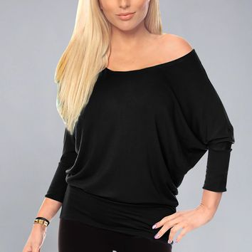 Women's Jersey Off the Shoulder Sweater Top Round Scoop Neck