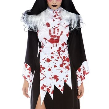 2 PC Killer Nun includes bloody tatte dress with hand pri
