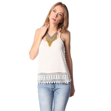 White cami top with crochet trim