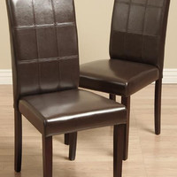 Eveleen Bi-cast Leather Brown Dining Chairs
