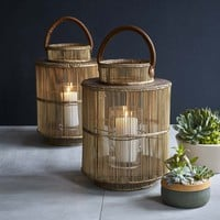 Natural Rattan & Glass Liana Lantern