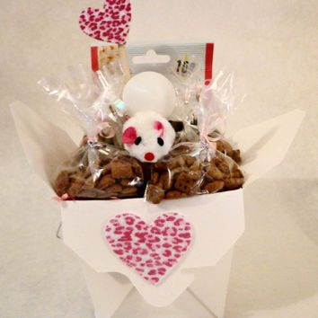 Valentines Day Pink cat or ferret treat basket with toys, unique gift, birthday, personalized, cat nip