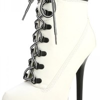 Dollhouse Tyrant White Lace Up Platform Ankle Booties and Shop Booties at MakeMeChic.com