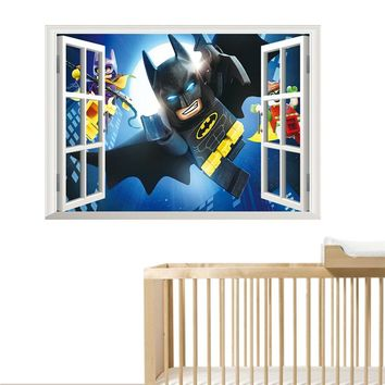 Lego Batman Window Wall Stickers Kids Room Decoration 3d Cartoon Movie Mural Art Diy Home Decals Poster Boys Gift