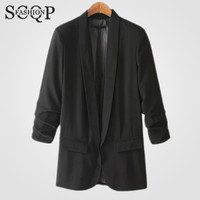 Black Fashion Solid Women's Blazers Pockets Cardigan Long Sleeve Spring Women Clothing New 2016 Autumn Ladies Blazer Coat 1-1545