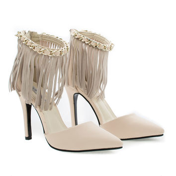 AmeliaXH2 D'Orsay Fringe Chain Ankle Cuff Stiletto Heel Dress Pumps