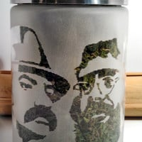 Cheech & Chong Edibles Stash Jar - Etched Glass Stash or Edibles Jar- Free UPGRADE to Priority Mail within the US