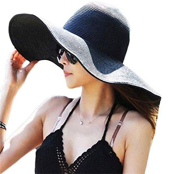 Sun Hat of Ladies Tide Straw Hat Beachwear Hat Holiday Eaves for Women