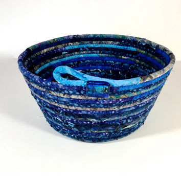 Handmade Clothesline Basket  Coiled Rope  Modern Batik Fabric Bowl   Blue and Purple Organizer  Fiber Art Decor  Upcycled Quilted Planter