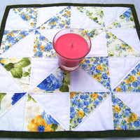 Table Topper, Quilted, Square, Country Creams and Whites