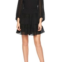Bardot Mae Lace & Swiss Dot Fit & Flare Minidress | Nordstrom