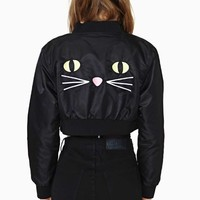 Lazy Oaf Kitty Boom Crop Bomber Jacket