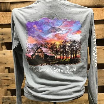 Backwoods Born & Raised Barn Country Day Comfort Colors Bright Unisex Long Sleeve T Shirt
