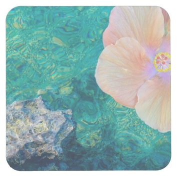 Hibiscus on turquoise water coaster