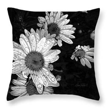 """Daisies In Black And White - photography Throw Pillow 14"""" x 14"""""""