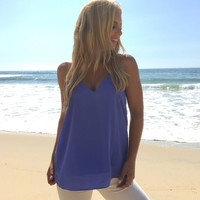 Jersey Shore Tank Blouse In Periwinkle