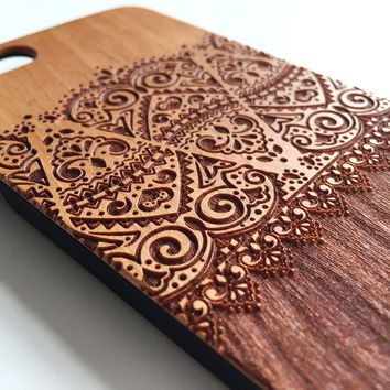 Real wood engraved floral lace pattern iPhone case S045