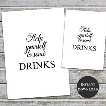 Help Yourself To Drinks, drink sign printable, food table sign, Bridal shower signs, Baby Shower Signage, Printable Instant Download (v32-1)