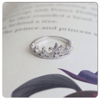 SALE Princess Crown Ring (Sterling Silver/White Gold Plated)