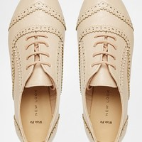 New Look Wide Fit Jackpot Brogue Lace Flat Shoes at asos.com
