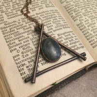 The Alchemy Fire Symbol Necklace / Fire Sign Pendant / Elements Collection / Gothic Jewelry / Electroformed Jewelry /pagan jewelry/witch jewelry