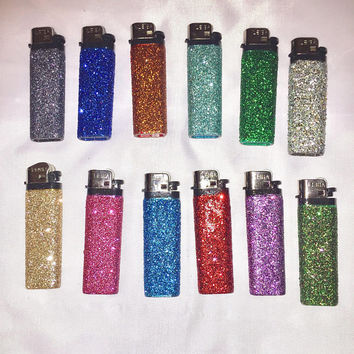 Glitter Lighter, Holiday Lights, Unisex Stocking Stuffer, Holiday Ornament, Gift for Her, Glitter Favor, Candle Lover Gift, Essential Oil