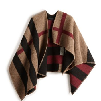 Layla Cape - Classic Sand Plaid