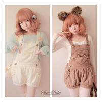 Free Shipping Lovely Heart Downy Woolen Strap Overalls SP140357