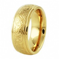 Bailey's Stainless Steel Floral Engraved Gold Plated Wedding Band