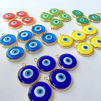 SALE 22mm glass evil eye charms, translucent opaque evil eye pendants, matte 22K gold plated evil eye, jewelry supplies